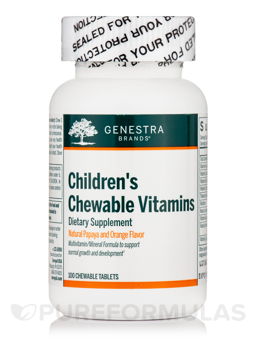 Children's Chewable Vitamins, Natural Papaya and Orange Flavor - 100 Chewable Tablets