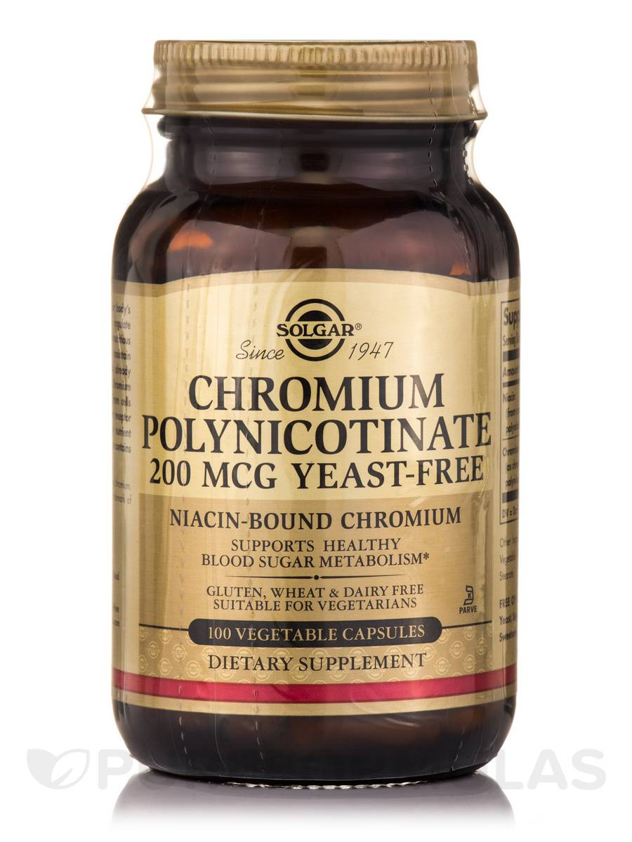 Chromium Polynicotinate 200 mcg Yeast-Free - 100 Vegetable Capsules