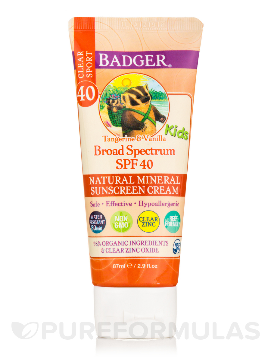 Clear Zinc Sunscreen Cream for Kids, SPF 40, Tangerine & Vanilla - 2.9 fl. oz (87 ml)