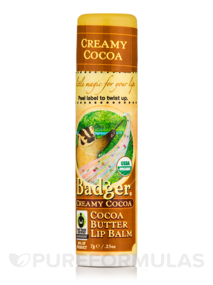 Cocoa Butter Lip Balm, Creamy Cocoa - 0.25 oz (7 Grams)