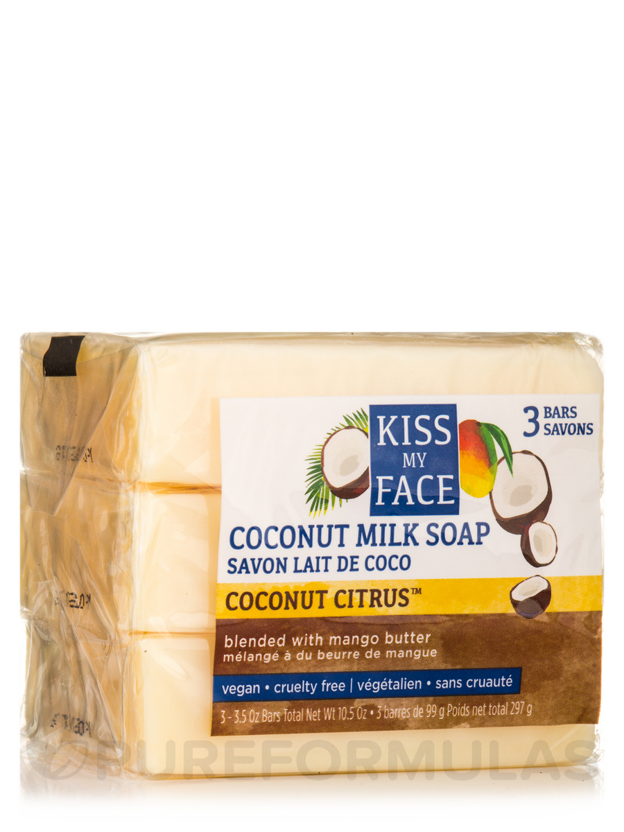 Coconut Milk Bar Soap with Mango Butter - 3 Bars (3.5 oz / 99 Grams each)