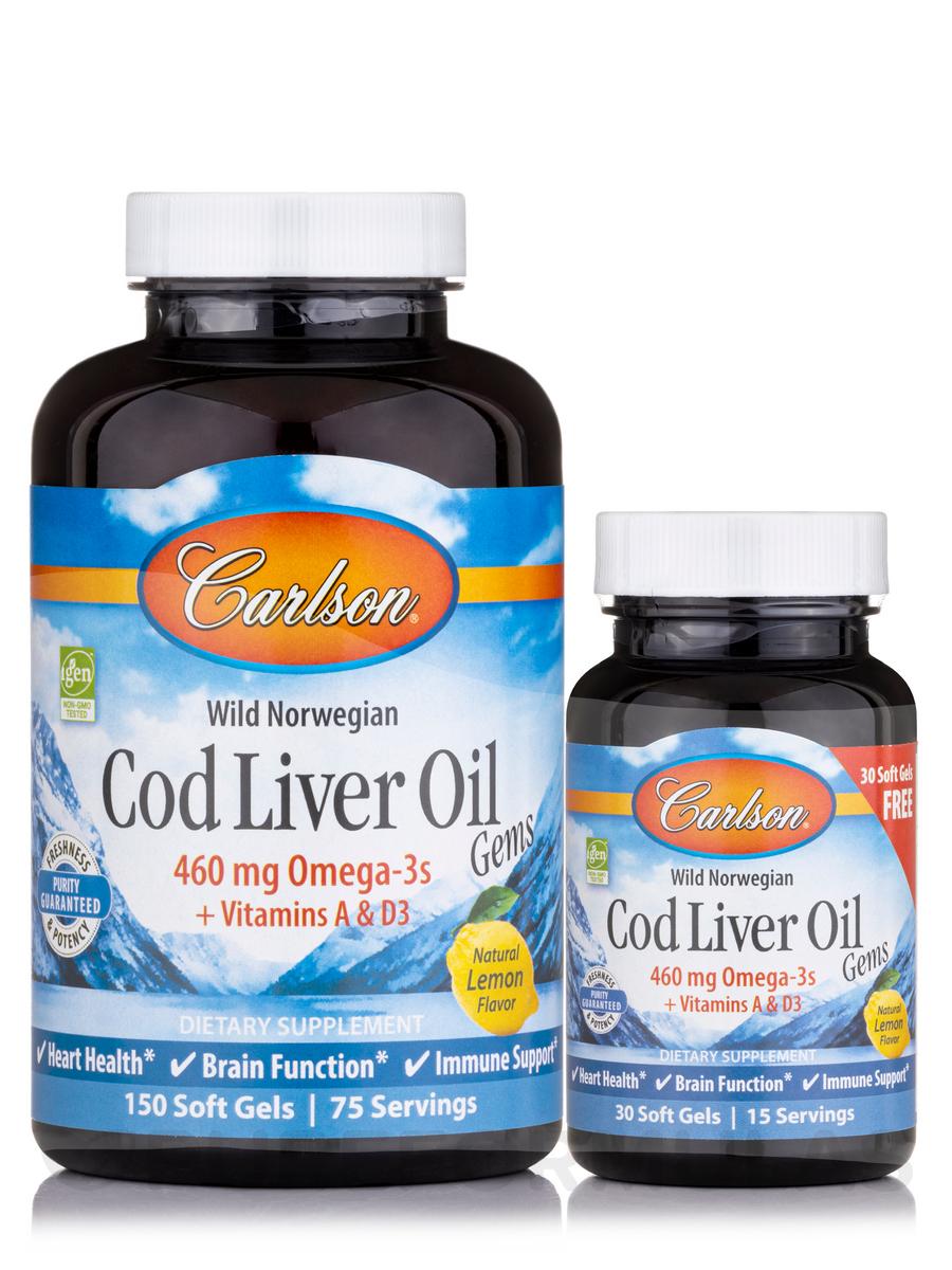 Cod Liver Oil Gems™ 460 mg, Natural Lemon Flavor - 150 + 30 Soft Gels