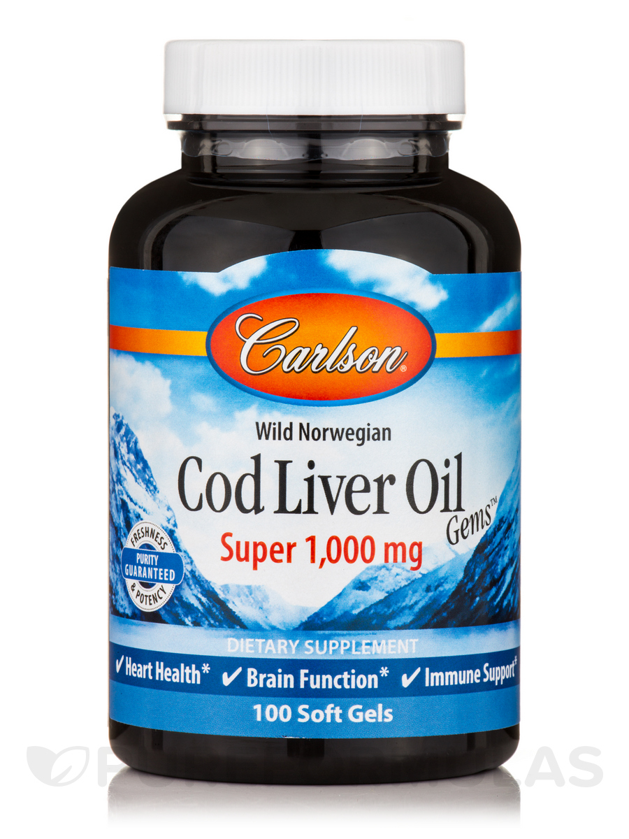 Cod Liver Oil Gems™ Super 1000 mg - 100 Soft Gels