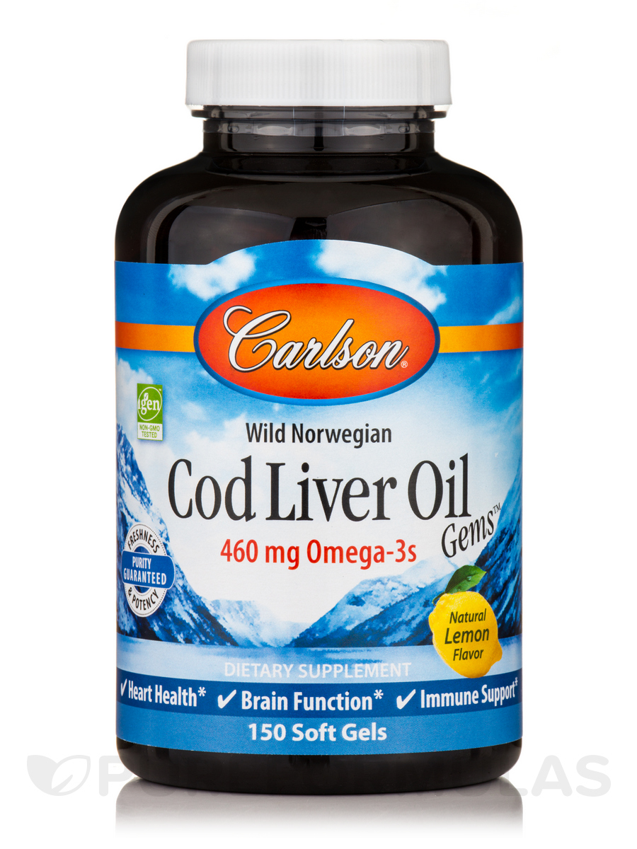 Norwegian Cod Liver Oil Lightly Lemon Flavor 1000 mg - 150 Soft Gels