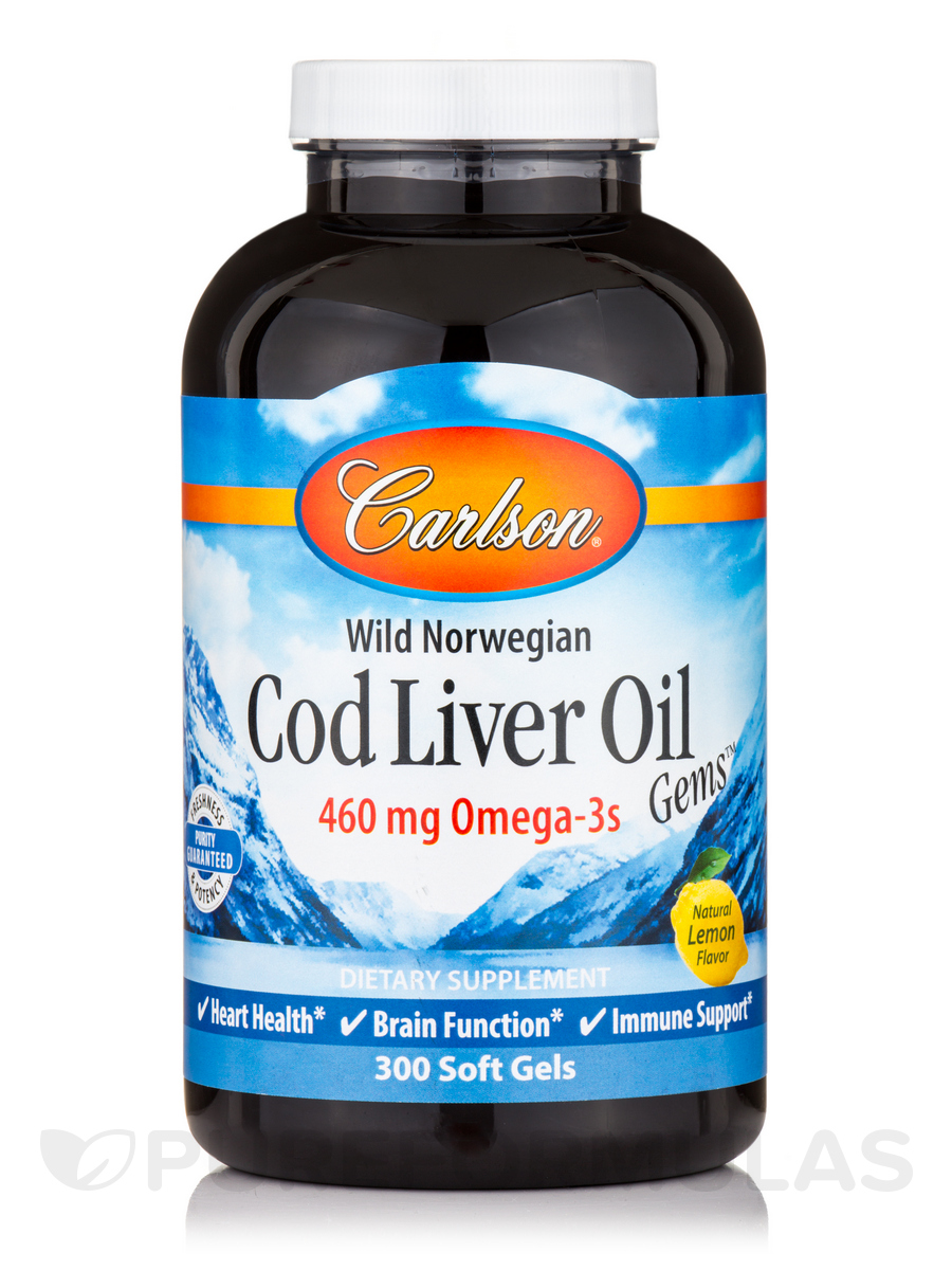 Cod Liver Oil Gems™ 460 mg, Natural Lemon Flavor - 300 Soft Gels