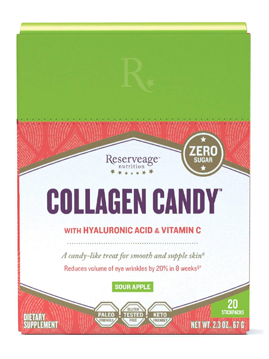 Collagen Candy™ with Hyaluronic Acid & Vitamin C, Sour Apple Flavor - 20 Stick Packs