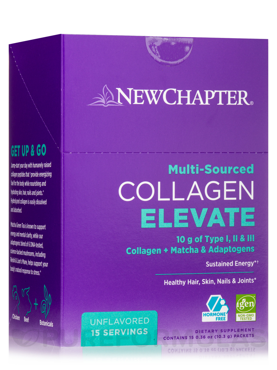 Collagen Elevate, Unflavored - Box of 15 Packets (0.36 oz / 10.3 Grams Each)