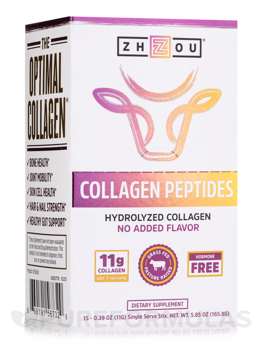 Collagen Peptides Stick Packs, Unflavored - 1 Box of 15 Single Serve Sticks