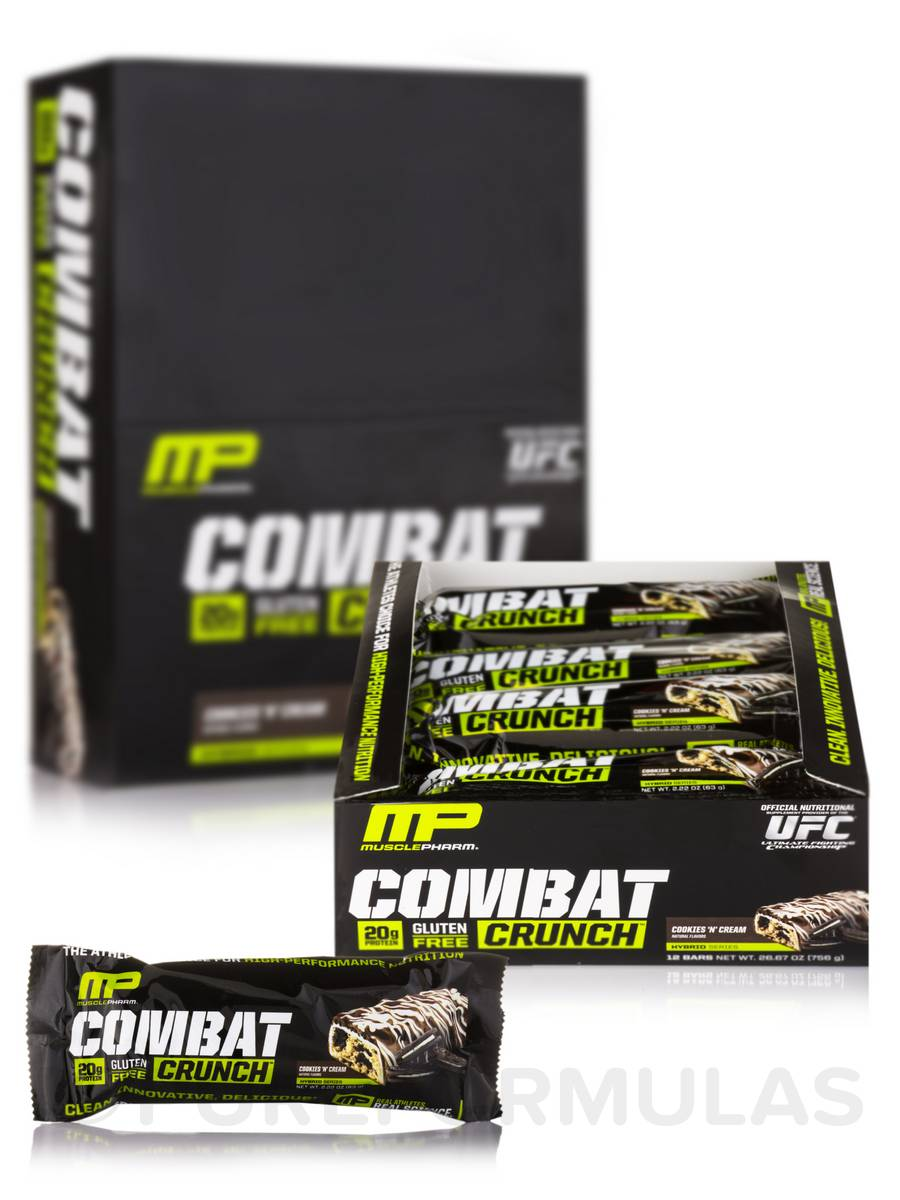 Combat Crunch Bars - Cookies 'N' Cream - Box of 12 Bars (2.22 oz / 63 Grams each)