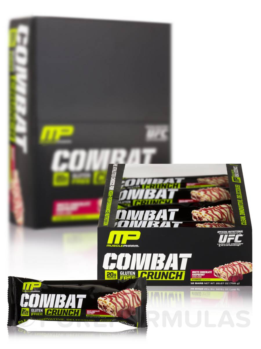 Combat Crunch Bars - White Chocolate Raspberry Flavor - Box of 12 Bars (2.22 oz / 63 Grams each)