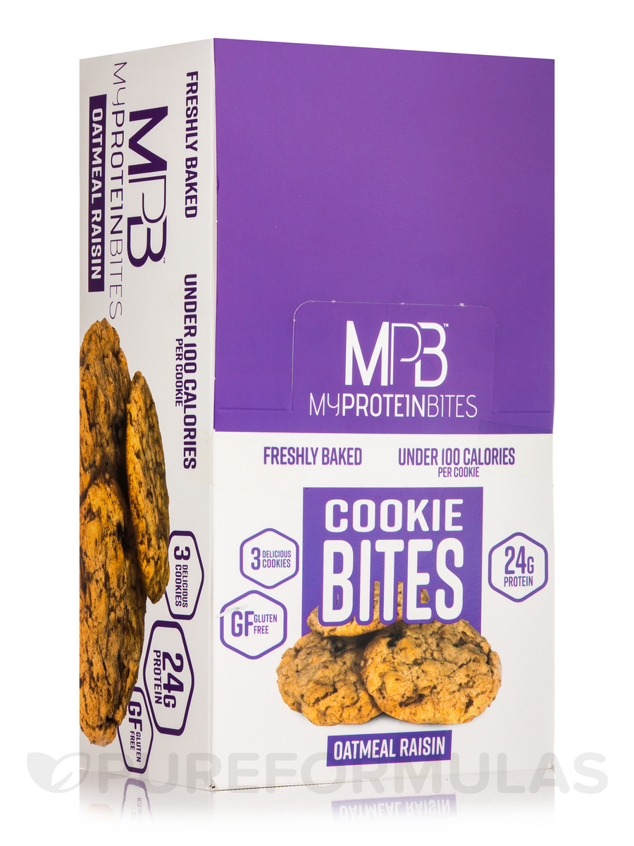 Cookie Bites Oatmeal Raisin - Box of 8 Packs, 3 Cookies per Package
