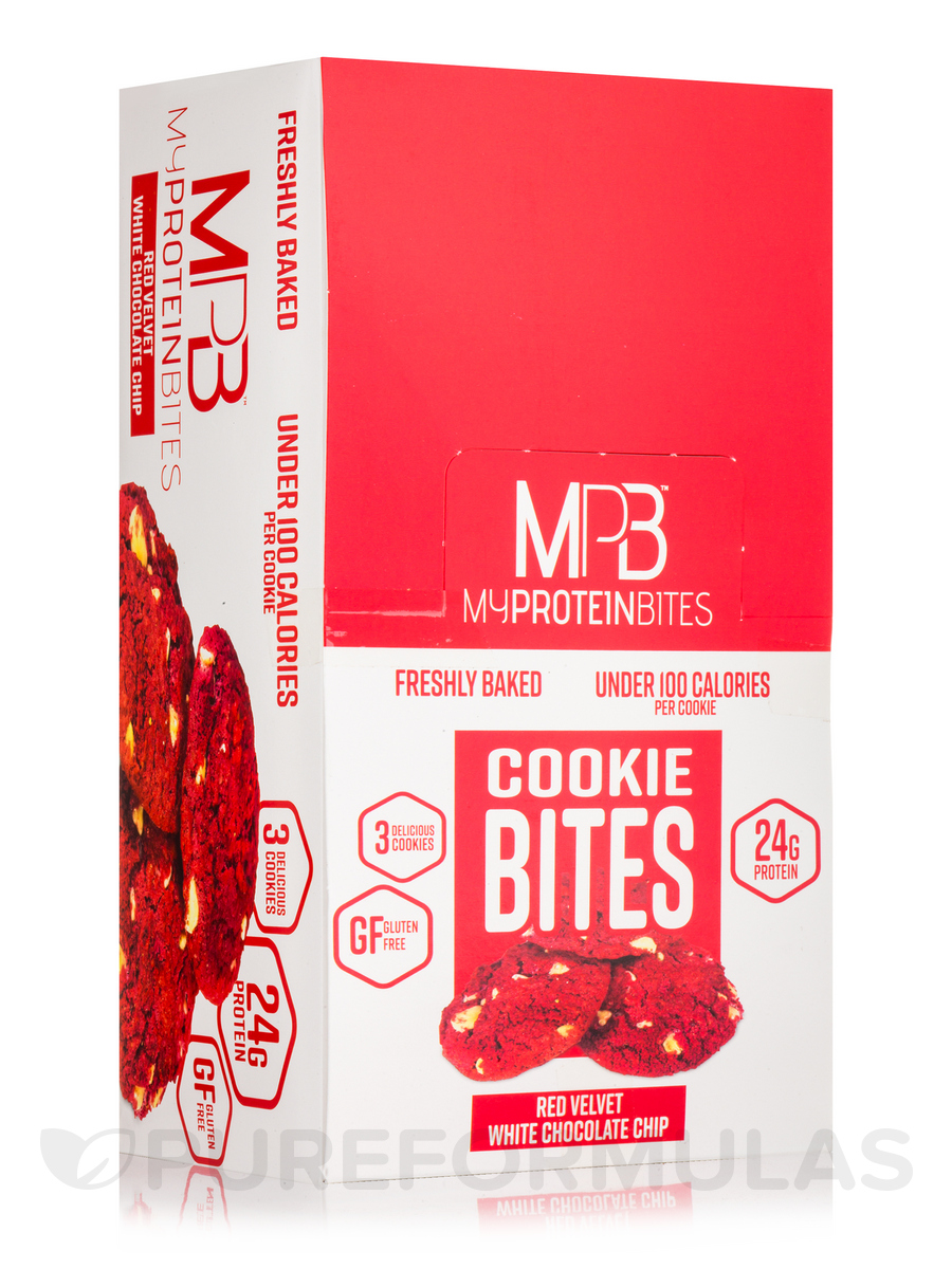 Cookie Bites Red Velvet White Chocolate Chip - Box of 8 Packs, 3 Cookies per Package