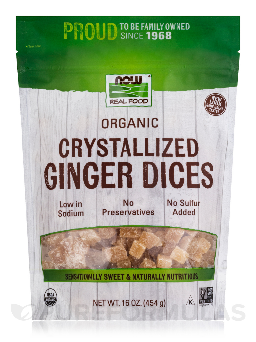 NOW® Real Food - Crystallized Ginger Dices w/o Sulfur - 16 oz (454 Grams)
