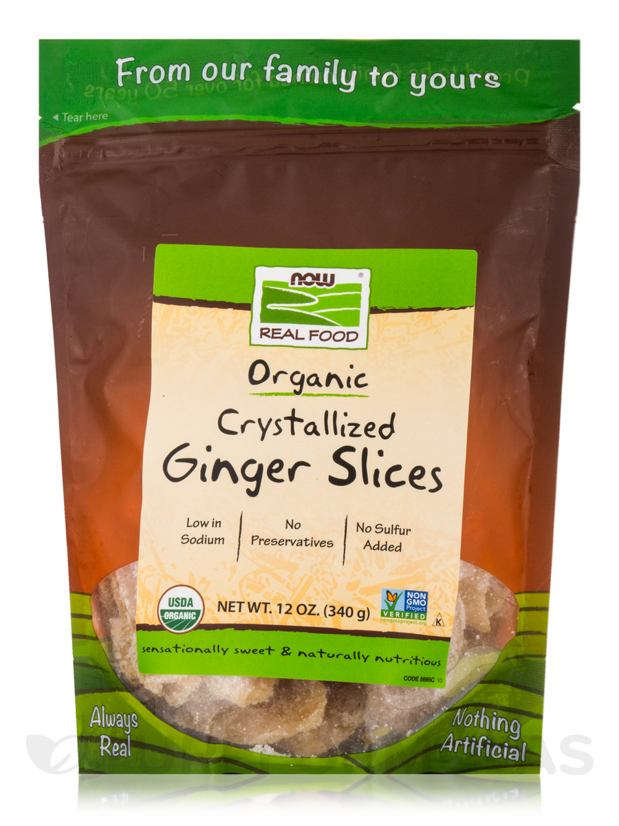 NOW® Real Food - Crystallized Ginger Slices - 12 oz (340 Grams)