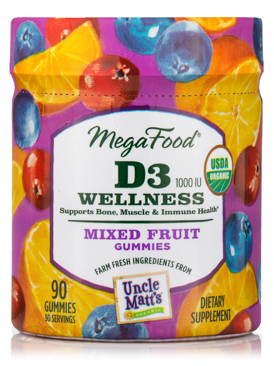 D3 1000 IU Wellness Mixed Fruit Gummies - 90 Gummies
