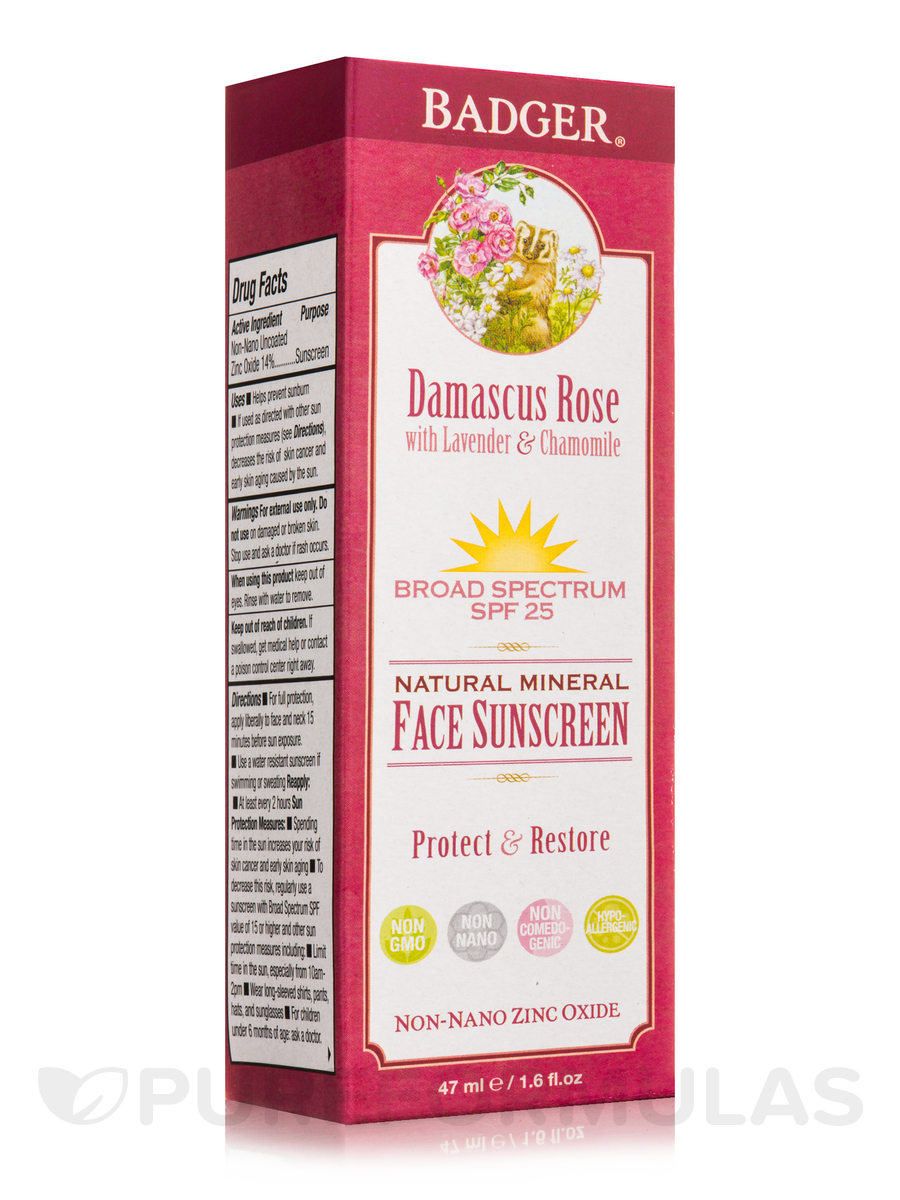Damascus Rose with Lavender & Chamomile Face Sunscreen Lotion, SPF 25 - 1.6 fl. oz (47 ml)