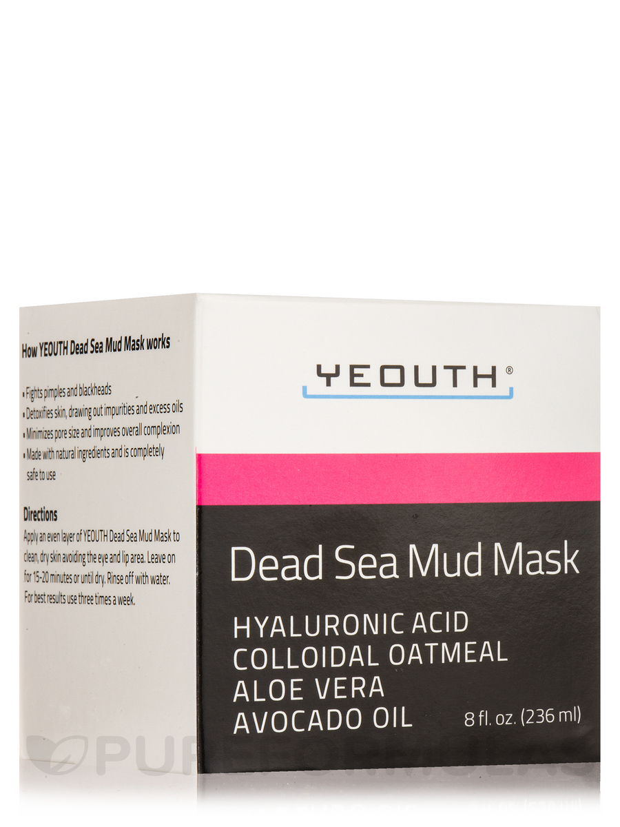 Dead Sea Mud Mask with Hyaluronic Acid, Colloidal Oatmeal, Aloe Vera, Avocado Oil - 8 fl. oz (236 ml)