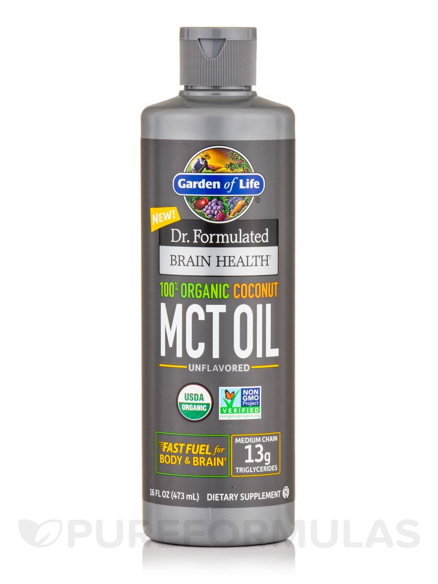 Dr. Formulated Brain Health 100% Organic Coconut MCT Oil, Unflavored - 16 fl. oz (473 ml)