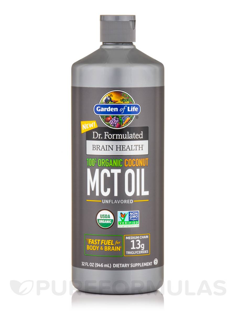 Dr. Formulated Brain Health 100% Organic Coconut MCT Oil, Unflavored - 32 fl. oz (946 ml)