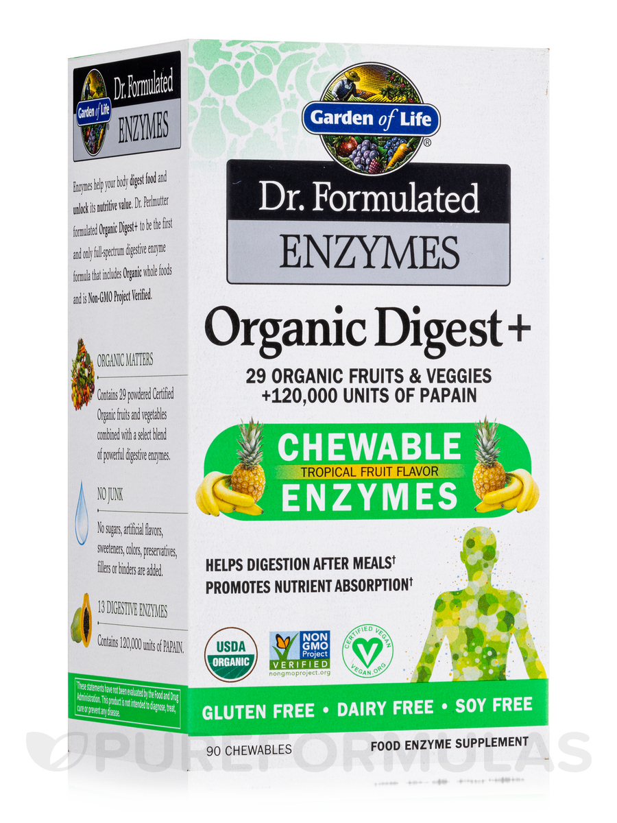 Dr. Formulated Enzymes Organic Digest+ - 90 Vegan Chewables