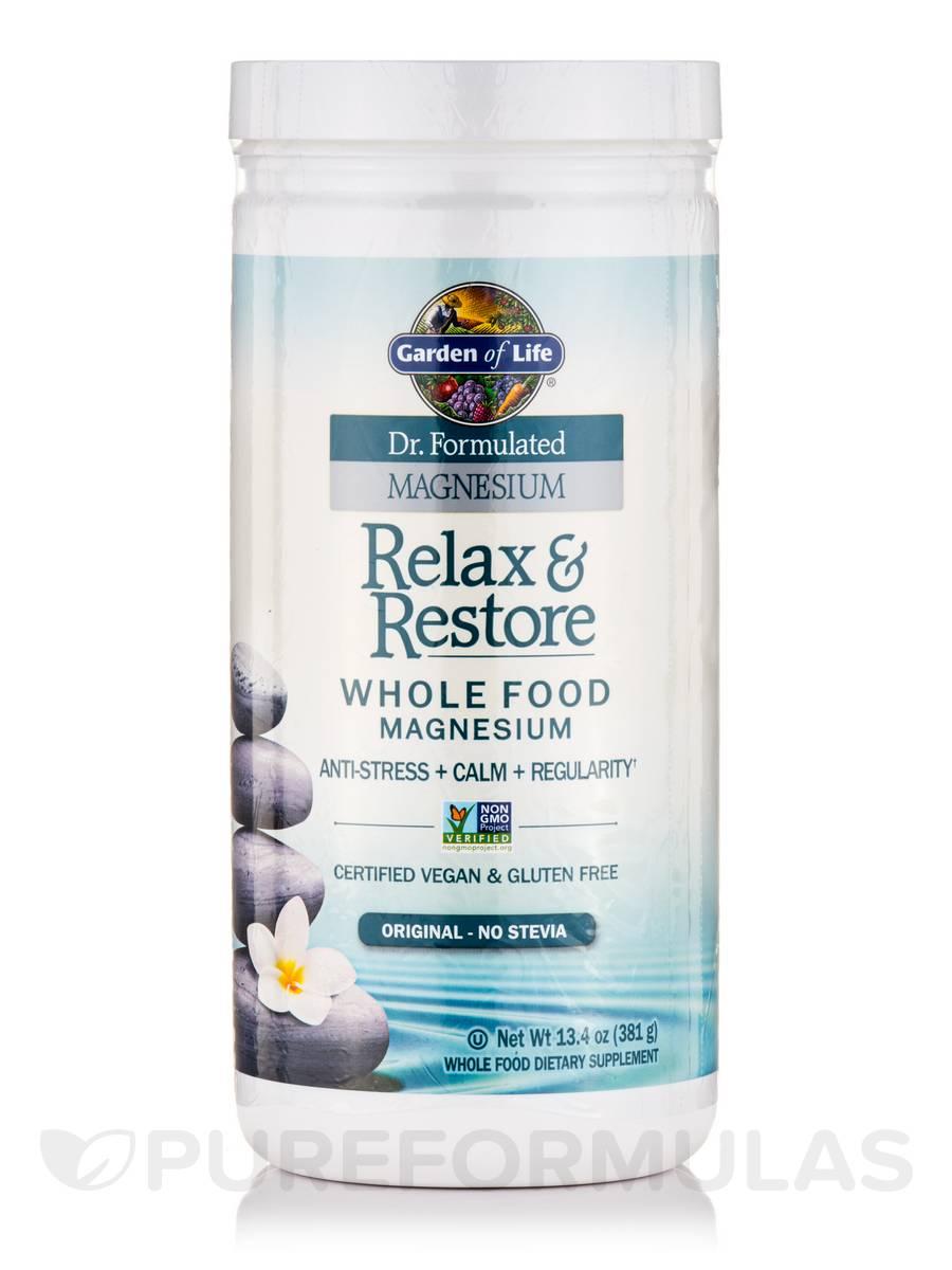 Dr formulated magnesium relax restore original no stevia 13 4 oz 381 grams for Garden of life relax and restore