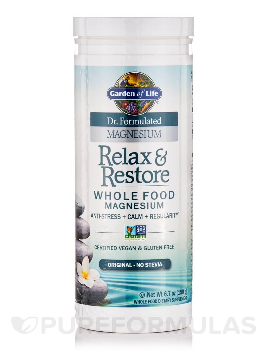 Dr formulated magnesium relax restore original no stevia 6 7 oz 190 grams for Garden of life relax and restore