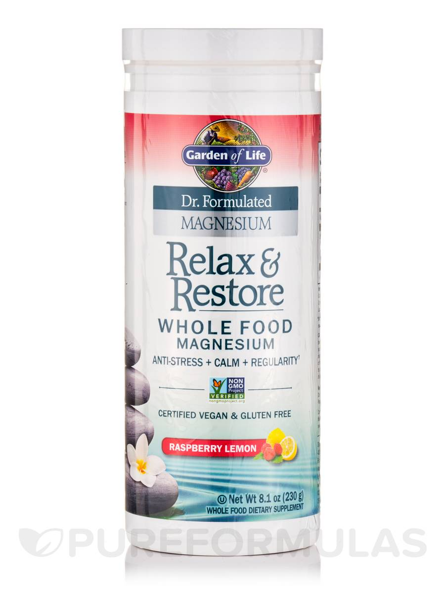 Dr formulated magnesium relax restore raspberry lemon 8 1 oz 230 grams for Garden of life relax and restore