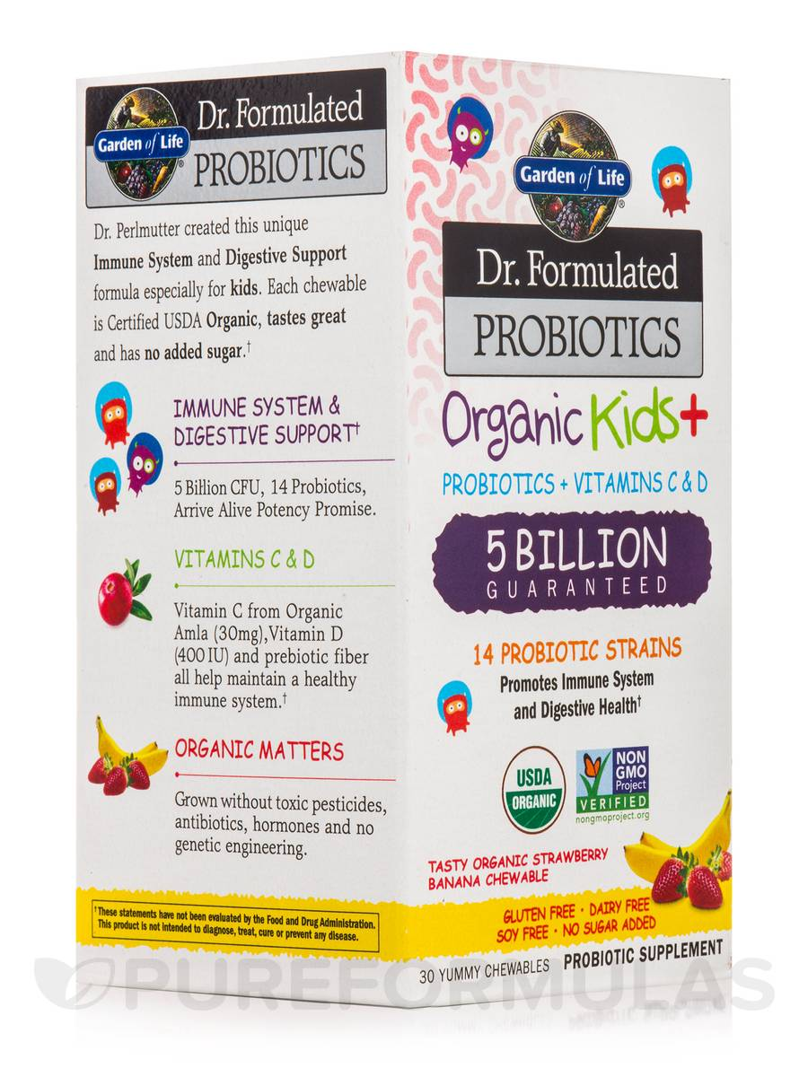 Dr. Formulated Probiotics Organic Kids+ 5 Billion CFU, Strawberry Banana Flavor - 30 Chewables