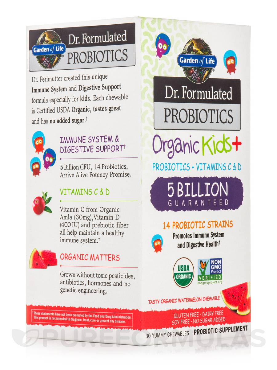Dr. Formulated Probiotics Organic Kids+ 5 Billion CFU, Watermelon Flavor - 30 Chewables