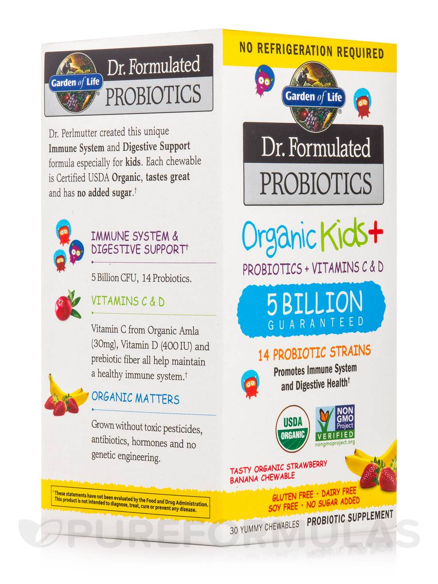 Dr. Formulated Probiotics Organic Kids+ 5 Billion CFU, Strawberry Banana Flavor (Shelf Stable) - 30 Chewables