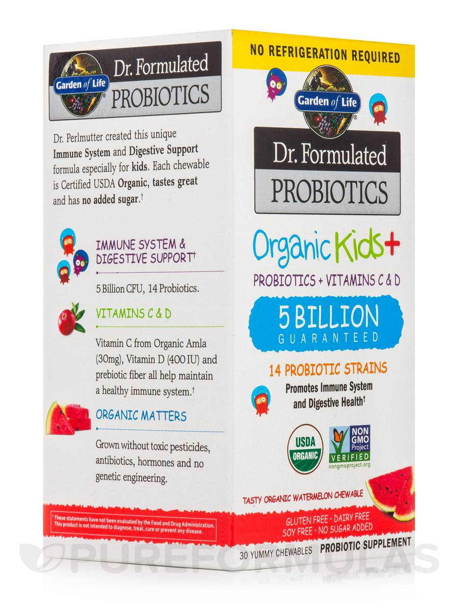 Dr. Formulated Probiotics Organic Kids+ 5 Billion CFU, Watermelon Flavor (Shelf Stable) - 30 Chewables