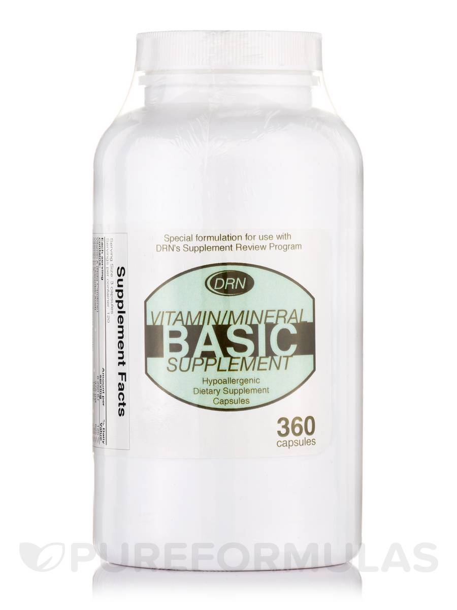 DRN Vitamin/Mineral Basic Supplement -Hypoallergenic - 360 Capsules