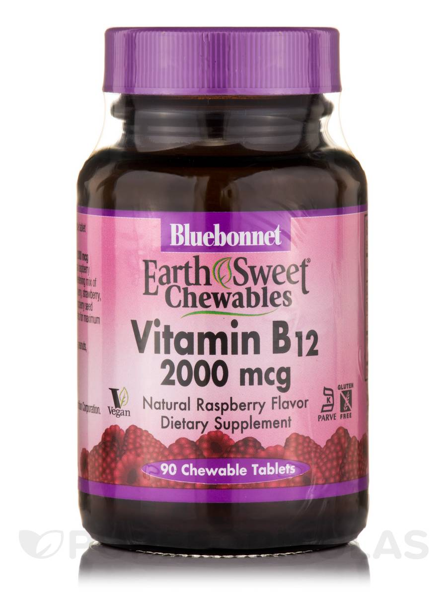 EarthSweet® Vitamin B12 2000 mcg, Natural Raspberry Flavor - 90 Chewable Tablets