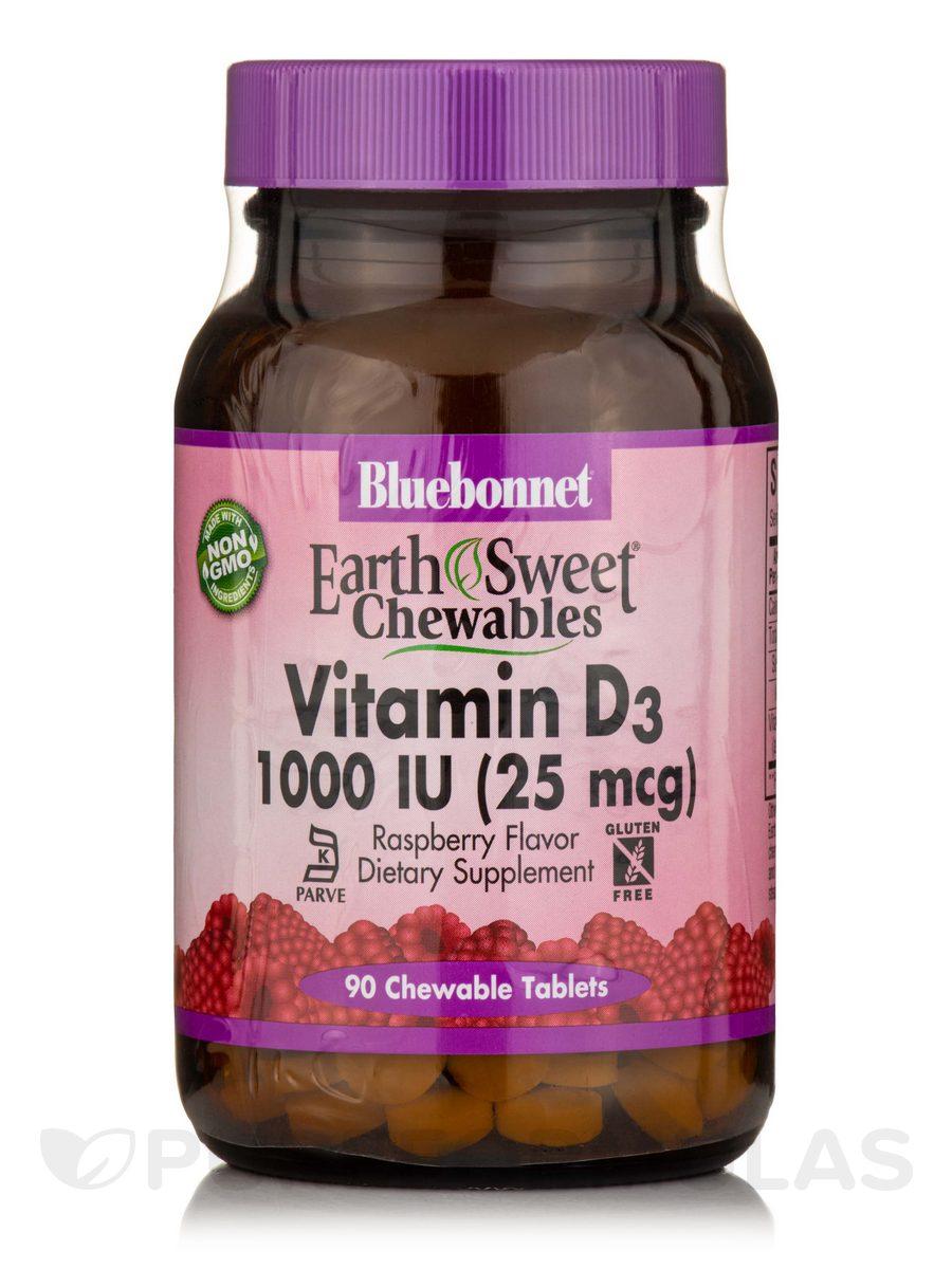 EarthSweet® Vitamin D3 1000 IU (25 mcg), Raspberry Flavor - 90 Chewable Tablets