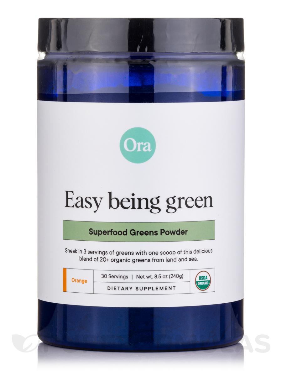Easy Being Green: Organic Greens Powder, Orange Flavor - 8.5 oz (240 Grams)