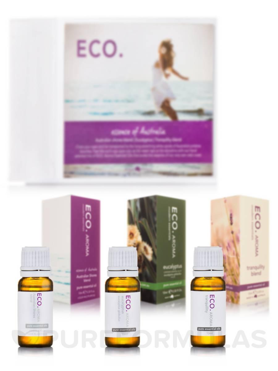 ECO. Essence of Australia Trio Gift Box (Australia Shores Blend, Tranquility Blend & Eucalyptus) - 3x 0.3 fl. oz/10 ml