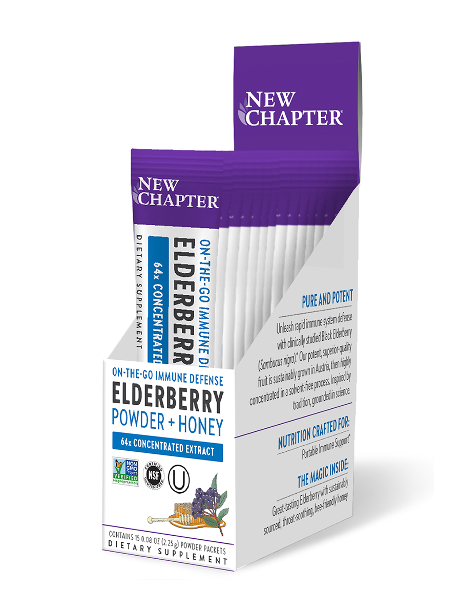 Elderberry Powder - 1 Box of 15 Single-Serve Powder Sticks (0.08 oz / 2.25 Grams each)