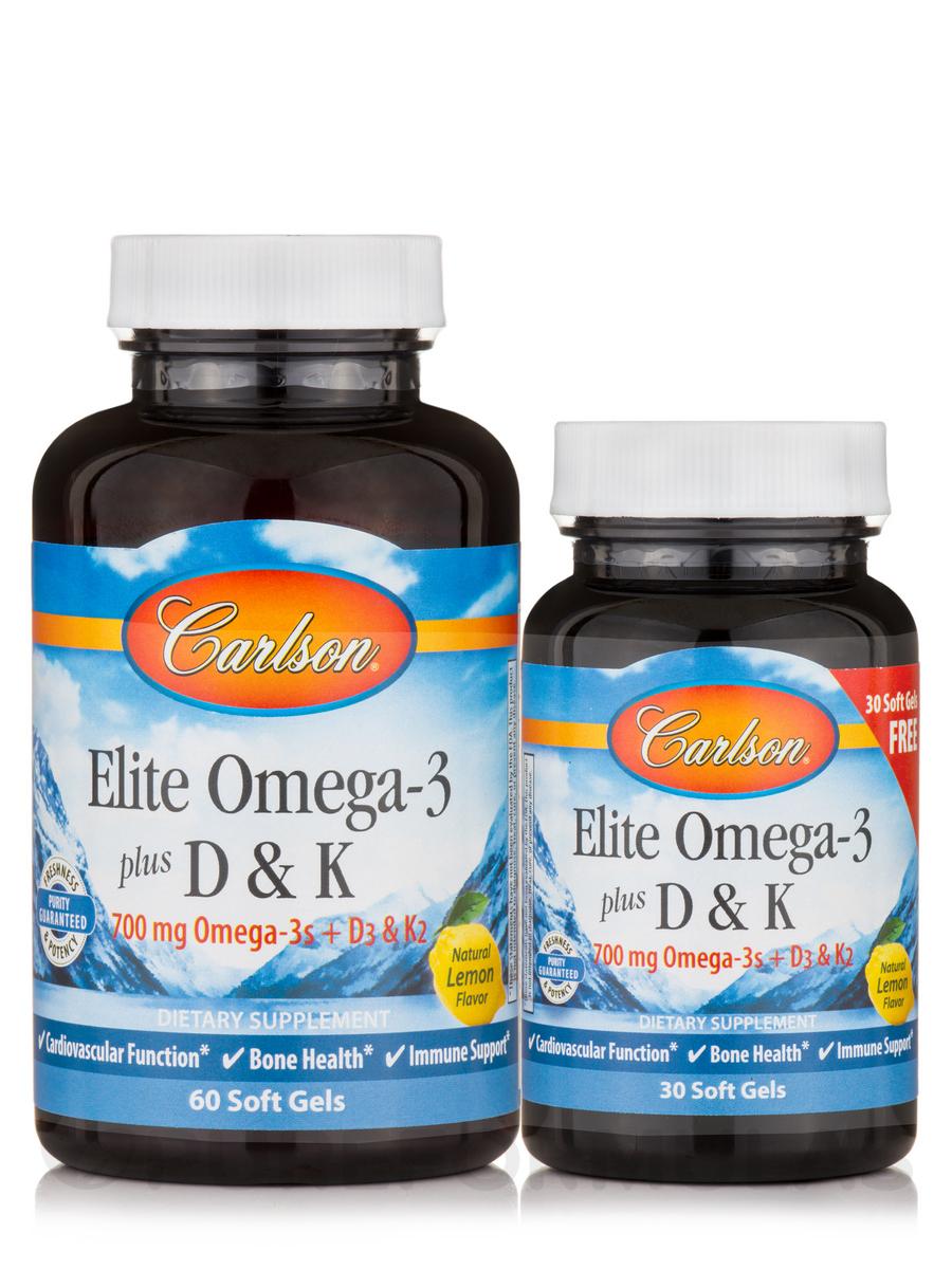 Elite Omega-3 plus D & K, Natural Lemon Flavor - 60 + 30 Soft Gels