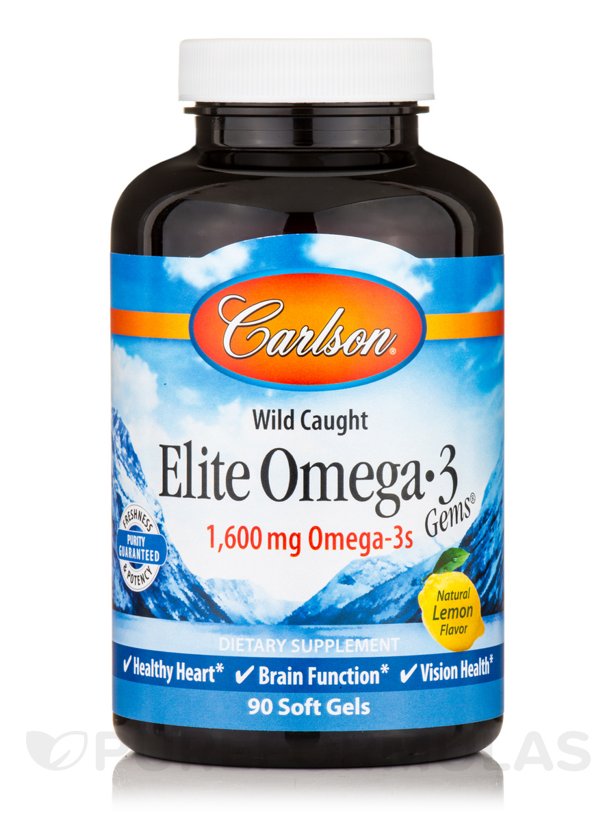 Elite Omega-3 Gems® 1600 mg, Natural Lemon Flavor - 90 Soft Gels