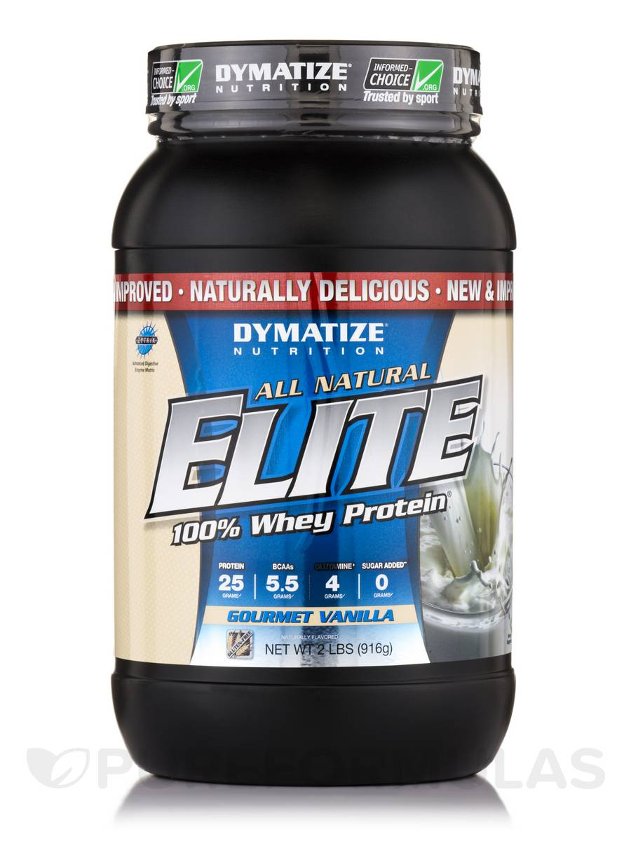 Elite 100% Whey Protein All-Natural Gourmet Vanilla - 2 lbs (916 Grams)