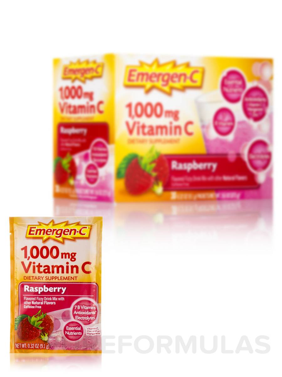 Emergen-C Vitamin C 1000 mg Raspberry - 30 Packets
