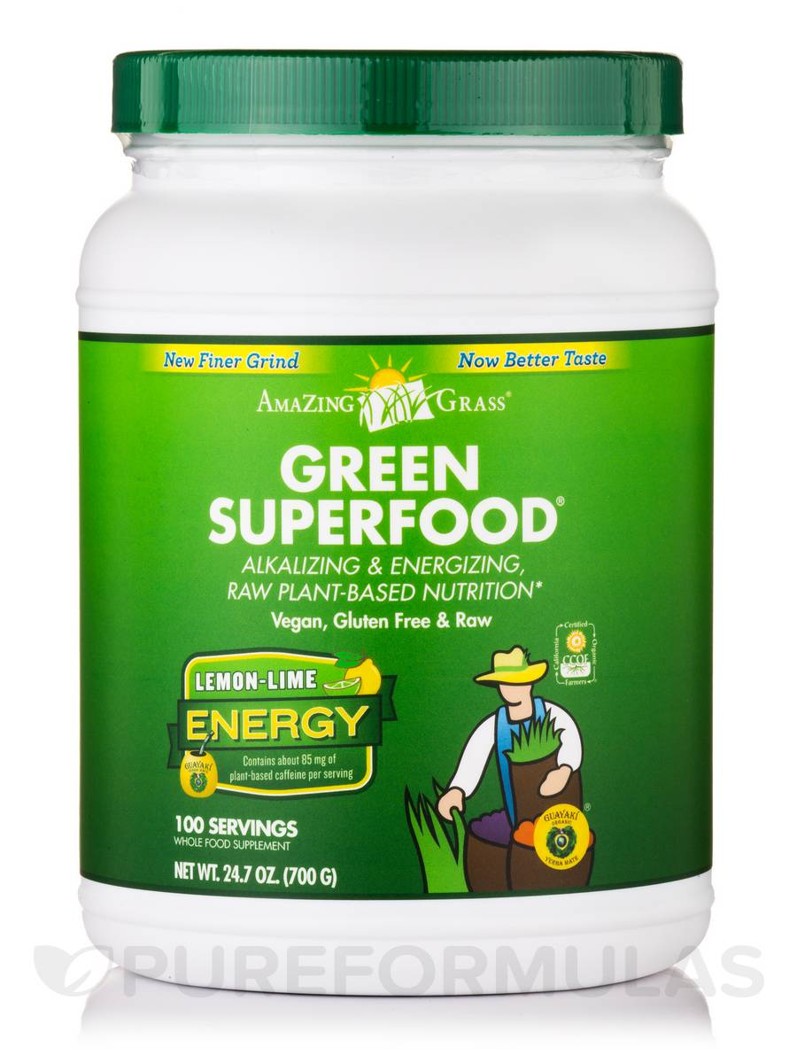 Green SuperFood® Energy Powder Lemon-Lime - 100 Servings (24.7 oz / 700 Grams)