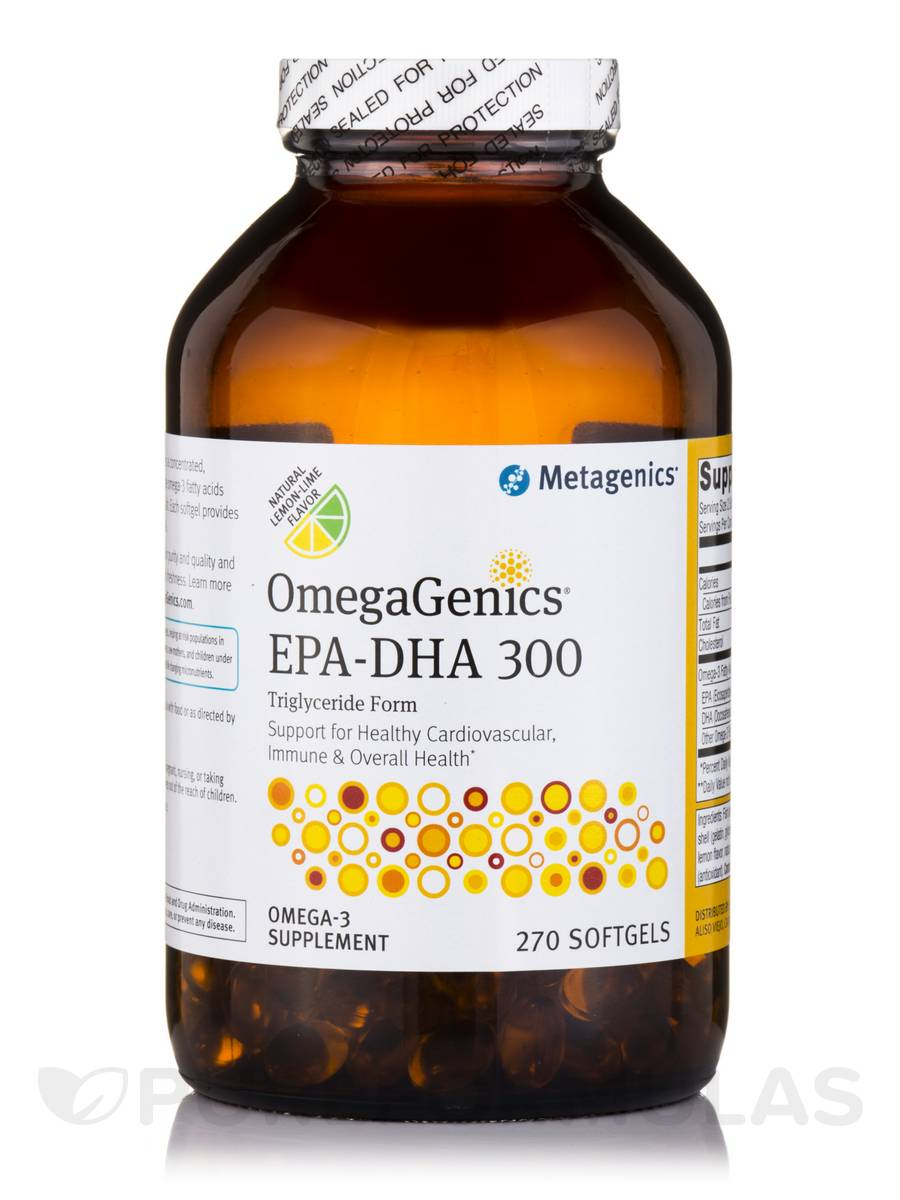 OmegaGenics® EPA-DHA 300 Triglyceride Form, Natural Lemon-Lime Flavor - 270 Softgels
