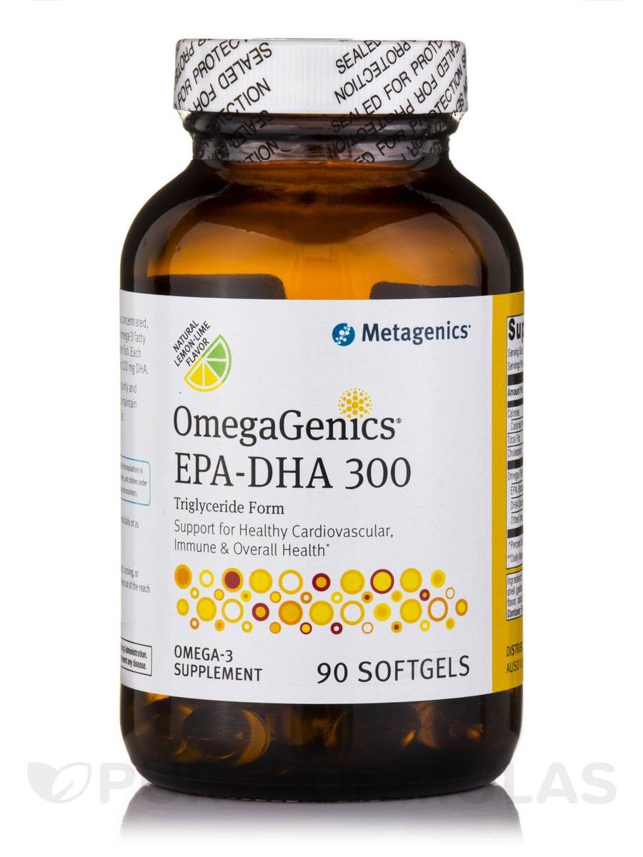 OmegaGenics® EPA-DHA 300 Triglyceride Form, Natural Lemon-Lime Flavor - 90 Softgels