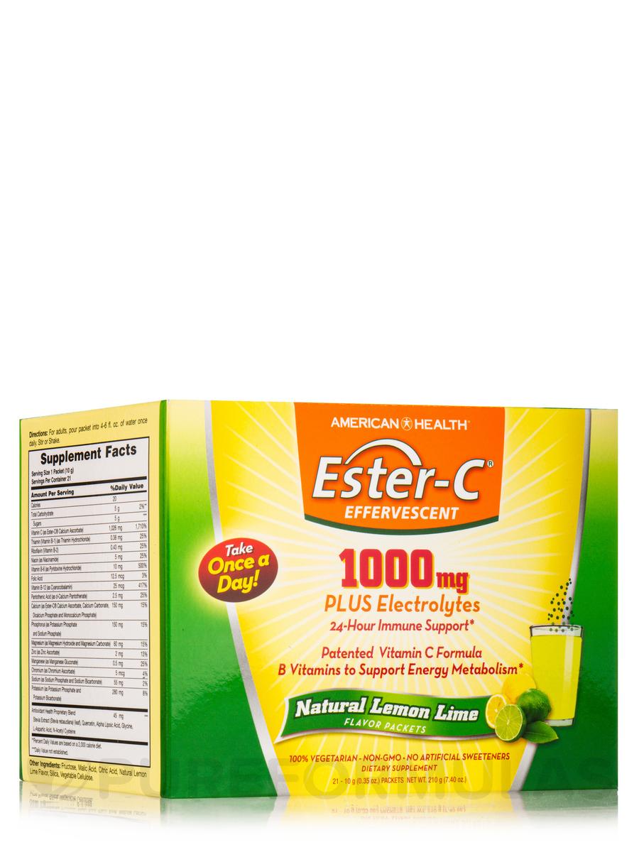 Ester-C® 1000 mg Effervescent Lemon Lime Powder - 1 Box of 21 Single Serving Packets