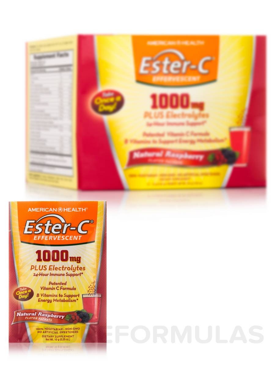 Ester-C® 1000 mg Effervescent Raspberry Powder - 21 Packets (7.40 oz / 210 Grams)