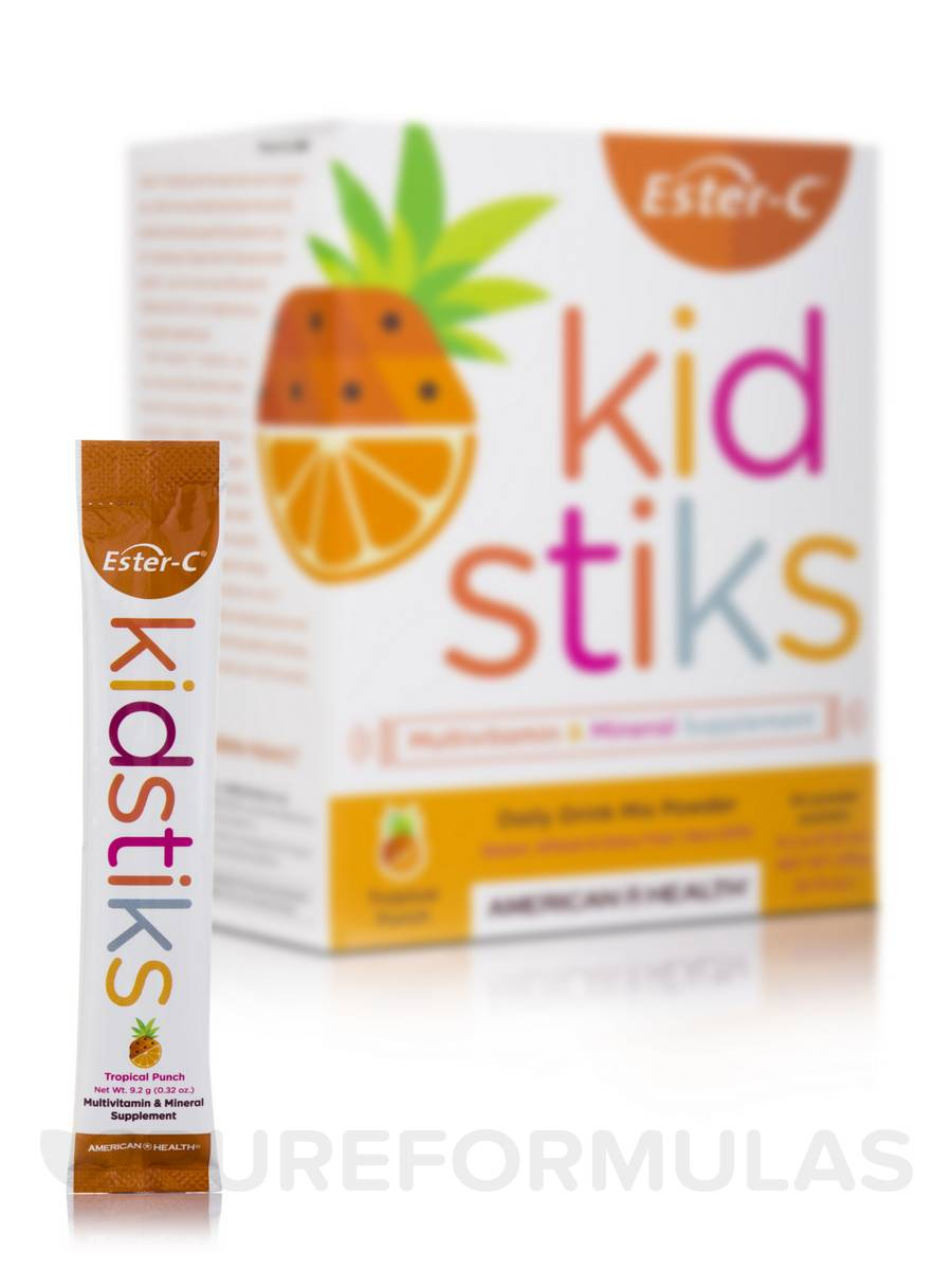 Details about American Health Ester-C - Kid Stiks - Tropical Punch - 30 Packets