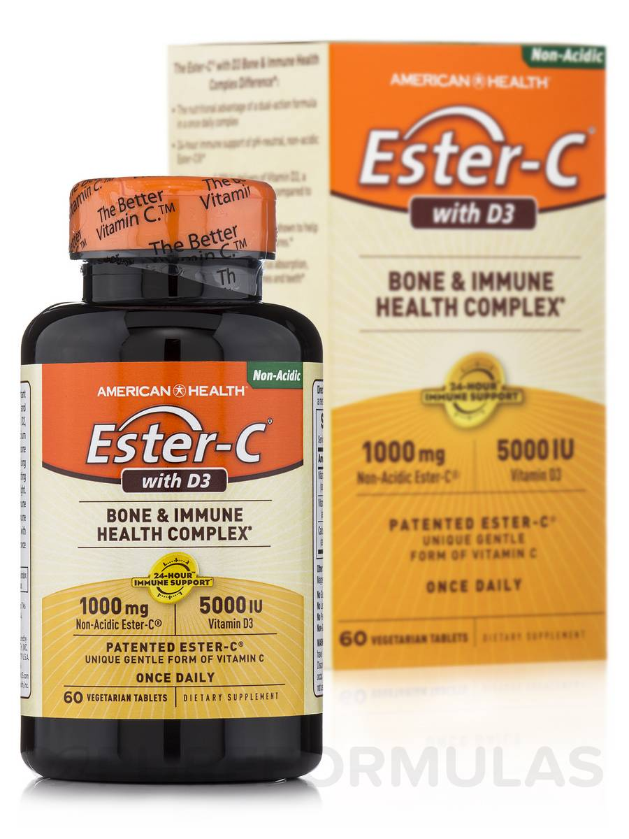 Ester-C® with D3 5000 IU - 60 Vegetable Tablets