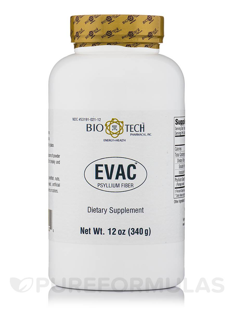 Evac Psyllium Husk Powder - 12 oz (340 Grams)