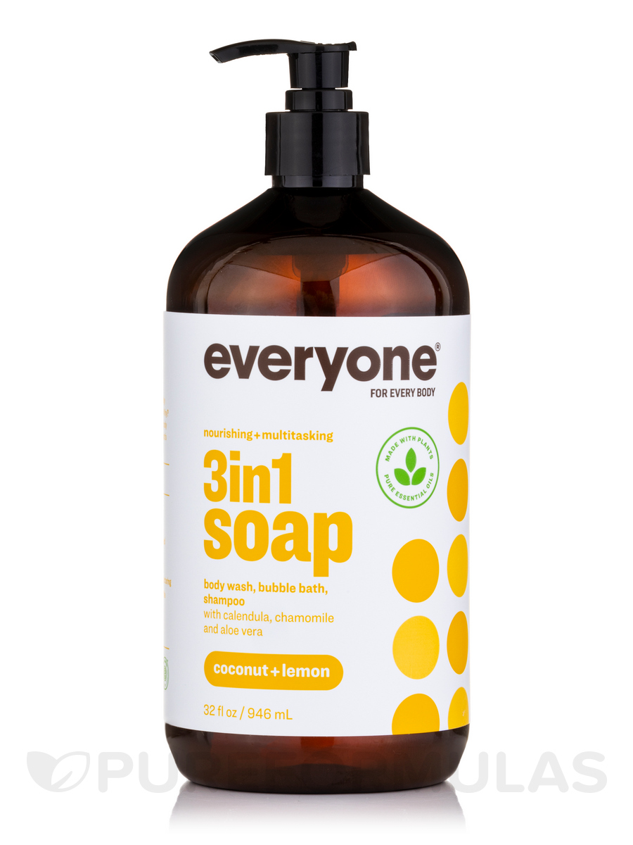 Everyone® Soap 3-In-1 (Shampoo, Body Wash, Bubble Bath), Coconut + Lemon - 32 fl. oz (946 ml)